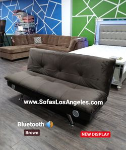 REAL SHOWROOM 😁 WE FINANCE - BROWN PILLOW TOP COUCH SOFA FUTON SOFA BED WITH BLUETOOTH SPEAKERS for Sale in Los Angeles,  CA