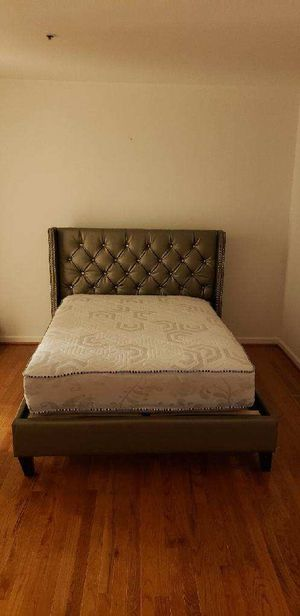 Brand New Full Size Silver Leather Platform Bed Frame + Mattress for Sale in Silver Spring, MD