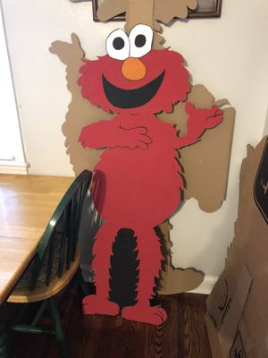 Elmo, big bird, Cookie Monster,& Oscar signs, brick happy birthday wall, me want cookie picture, and Elmo 1 high chair banner for Sale in Gaithersburg, MD