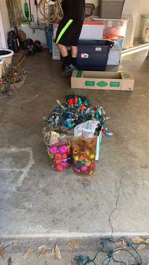 Misc box of Xmas lights & Xmas ornaments for Sale in Arlington, TX