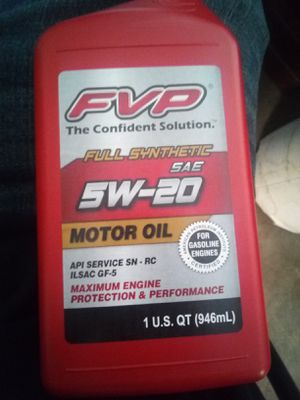 FVP 5W-20 Full Synthetic Motor Oil for Sale in Vancouver, WA