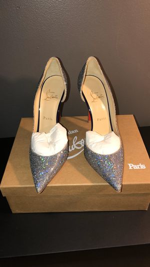 "Authentic Christian Louboutin ""Iriza"" 100 Glitter Disco Ball/Patent Multi/Purple heels for Sale in Washington, DC"