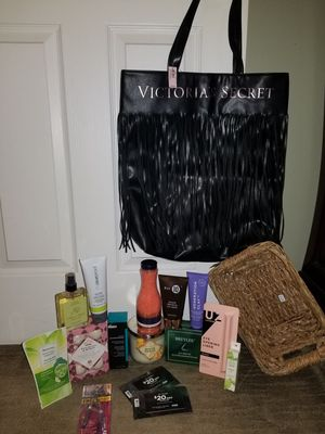 HUGE brand new beauty bundle + new with tags limited edition Victoria secret fringe tote. for Sale in Addison, IL