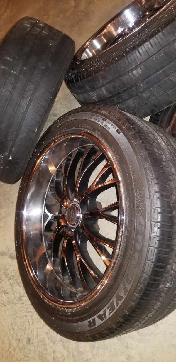 20 inch lorenzo chrome offset rims with tires 20×8 front tires 20×10 rear tires