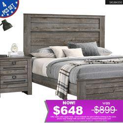 *TEMPORARY PRICE* 4PCS Queen Bedroom Set Bed + Dresser + Nightstand +Mirror (mattress NOT included) B6960 for Sale in Baldwin Park,  CA