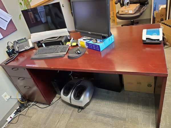 Desk W/ Hutch And Lights And Second Desk Matching
