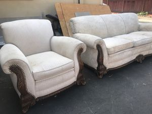 Antique sofa and chair !! $300.00 or best offer at one time Reupholstered for $5000. for Sale in Martinez, CA