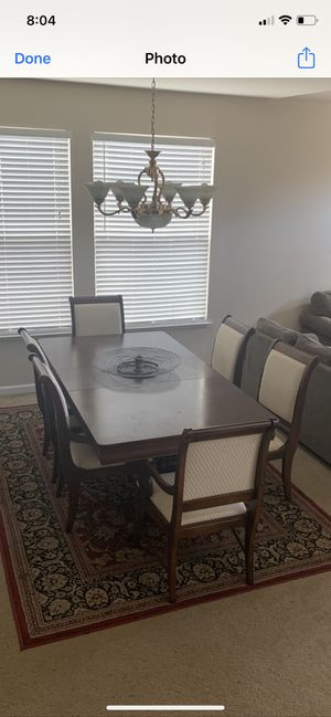 6 chair Cherry Wood dining table for Sale in Tracy, CA
