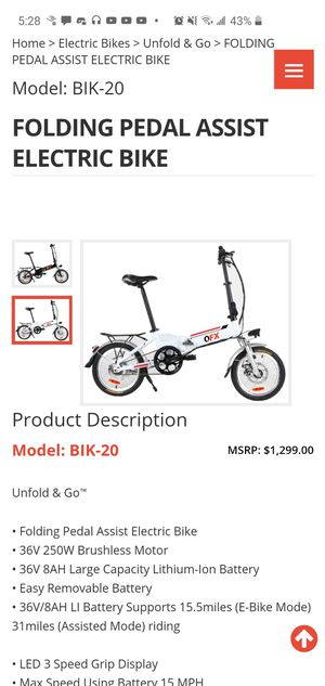 New Foldable Electric bike for Sale in Stockton, CA