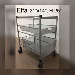 ELFA heavy duty mesh file cabinet drawers shelves with casters for Sale in Somerville,  MA