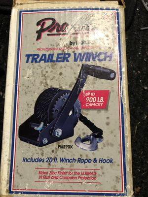 SINGLE-SPEED TRAILER WINCH – 900LB with rope for Sale in Lynnwood, WA