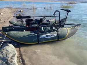Water skeeter river guide bass guide fishing pontoon boat with motor for Sale in Henderson, NV
