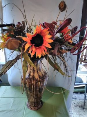Tall Metal Vase and Flowers for Sale in Lithia Springs, GA