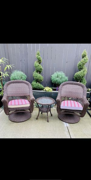3 Pieces Wicker Outdoor Patio Furniture Set (2 Swivel Chairs + Glass Top Table) for Sale in Renton, WA