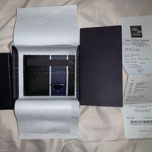 Prada Saffiano leather card holder Color Black/Bright Blue for Sale in Vancouver, WA