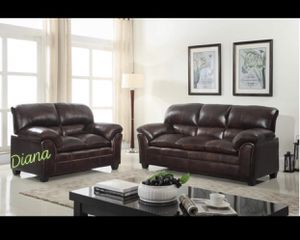 Black / Brown Leather Sofa & Love Seat (Cash $880) $5 DOWN NO CREDIT NEEDED for Sale in Houston, TX