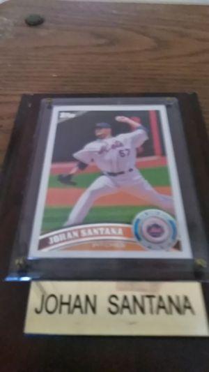 Johan Santana Topps baseball card on plaque for Sale in Shelton, CT