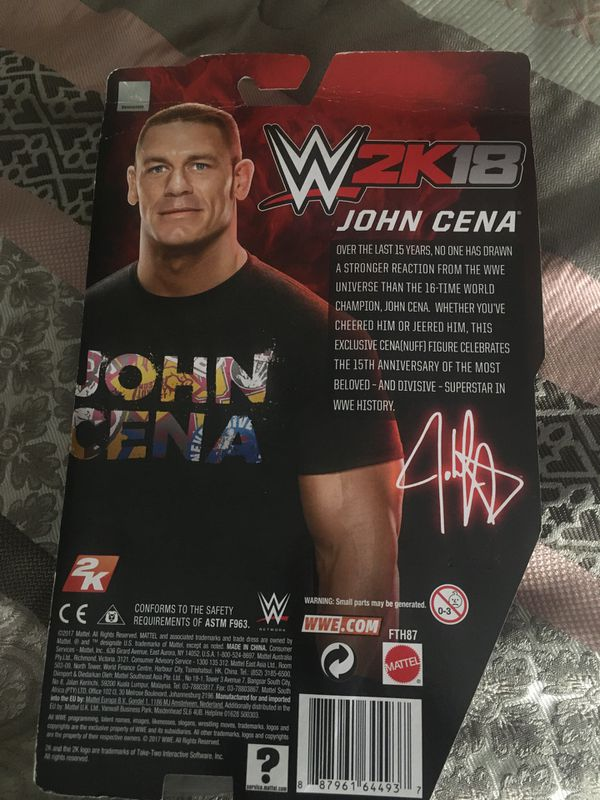 John cena collectible action figure and autographed plaque