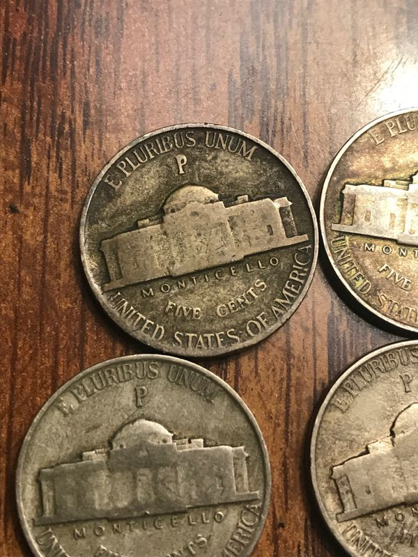 War nickel /40% Silver 1942-1943-1944-1945 /P,D,S