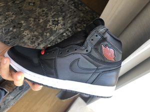 Jordan 1 Retro High Satin Gym Red 7.5 Size - Just Released - Best Price - Shoes Sneakers Black & Red for Sale in Philadelphia, PA