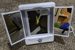 3-panel Makeup Mirror Vanity Compact Lighted Portable 5x / 1x magnify for Sale in Murrieta, CA