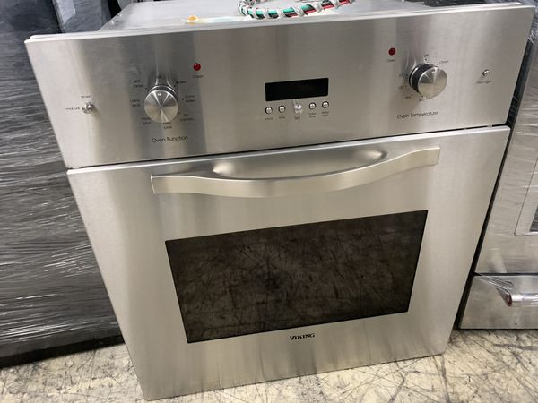 "27"" viking single oven in stainless steel electric"