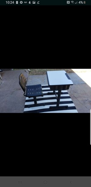 FLASH FURNITURE ADJUSTABLE HEIGHT STUDENT DESK AND CHAIR WITH BLACK PEDESTAL for Sale in Phoenix, AZ