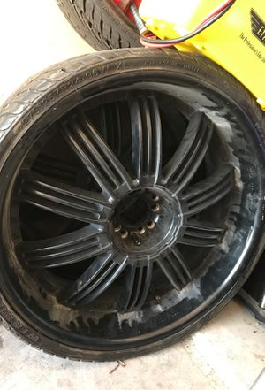 2 24 all black rims and 3 good tires 275/25zr24 for Sale in Frisco, TX