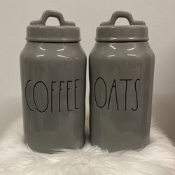 """Rae Dunn """"COFFEE & OATS"""" Small Canister Set - Gray for Sale in La Puente,  CA"""