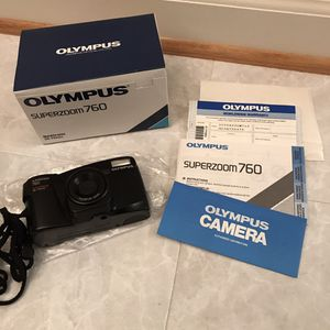 Vintage rare Olympus superzoom 760 camera 35-75mm photography photo film old school in box for Sale in Burtonsville, MD