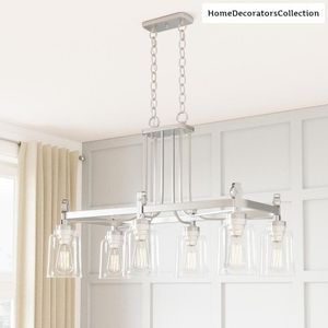 Home Decorators Collection Knollwood 6-Light Brushed Nickel Chandelier with Clear Glass Shades for Sale in Dallas, TX