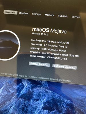 MacBook Pro 500GB mid 2012 for Sale in Baltimore, MD