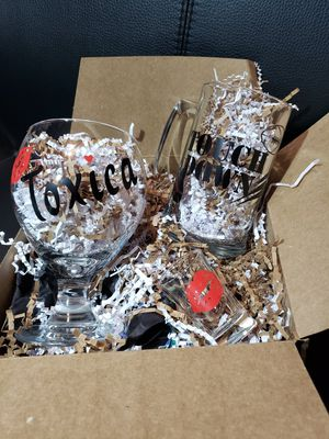 Toxica,football, among us,& Christians glass cups for Sale in Los Angeles, CA