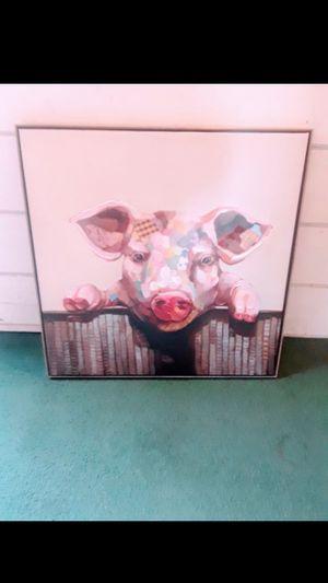 Pig framed canvas pop art print for Sale in Petaluma, CA