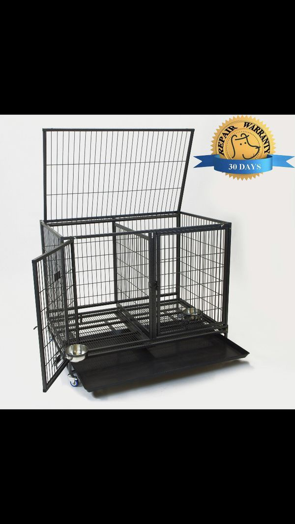 Dog Pet Cage Kennel Size 43 Lower With Divider And Feeding Bowls New In Box 📦