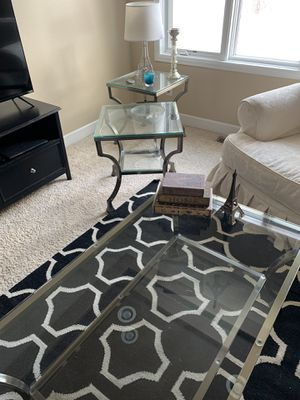 Coffee table & two end tables - glass, retro, brushed metal. $150obo for Sale in Cheyenne, WY
