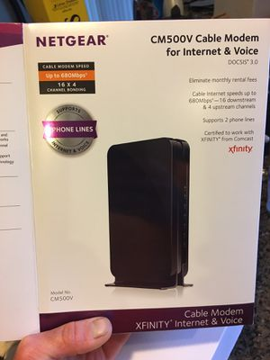 NETGEAR Cable Modem with Voice CM500V - For Xfinity by Comcast Internet & Voice | Supports Cable Plans Up to 300 Mbps | 2 Phone lines | DOCSIS 3.0 for Sale in Issaquah, WA