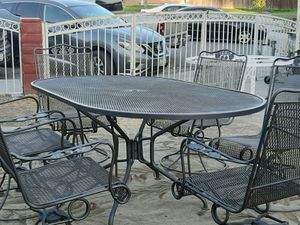 wrought iron vintage dining set with 6 rocker chairs charcoal gray, oval table ,nice condition pick up only for Sale in San Bernardino, CA