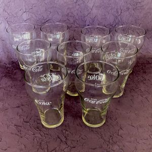 9 - 10oz OUNCE COKE COCA COLA DRINKING GLASSES CLEAR EXCELLENT SODA POP SOFT DRINK VINTAGE GLASS FAMILY for Sale in Phoenix, AZ