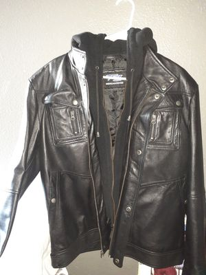 New fz merchandise leather hoodie jacket size large for Sale in Los Angeles, CA