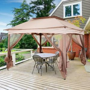 SHIPPING ONLY 11'x11' 2 Tier Outdoor Pop Up Gazebo Canopy Sun Shade Tent w/Netting for Sale in Las Vegas, NV