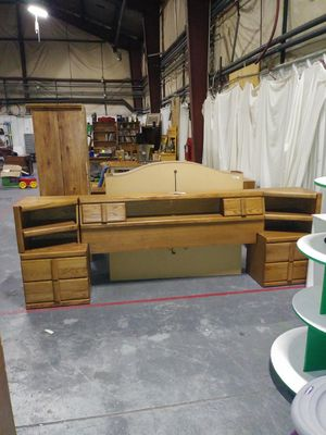 5 Piece Solid Oak Queen Sized Headboard Set With Nightstands for Sale in Greeley, CO