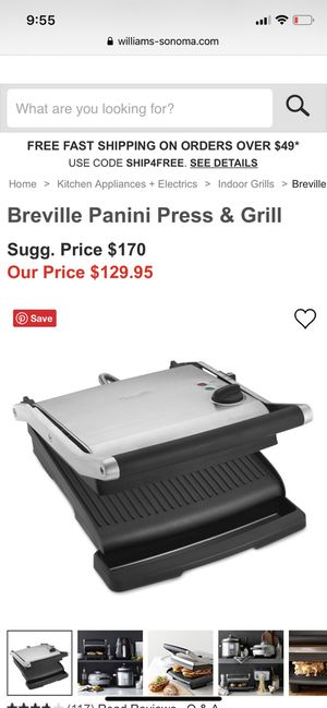 Breville panini press and grill for Sale in Los Angeles, CA