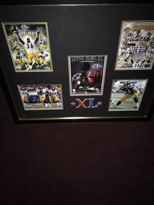 Framed In Gold and Black & Double Matted, A True Steelers Collectible Piece---Super Bowl 40 Collage, the Bus' Super Bowl, signed by Coach Bill Cowher for Sale in Fairfax, VA