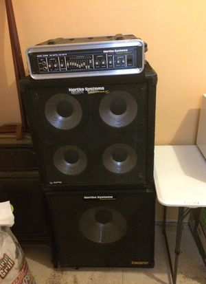 Hartley systems bass amplifier, speakers 4-10x 1- 15 for Sale in St. Louis, MO