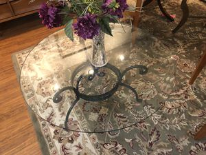 Round Glass and Black Iron Coffee Table for Sale in Milwaukie, OR