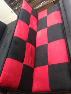 Futon black with red for Sale in Anaheim, CA