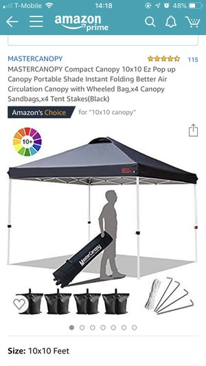 Compact Canopy 10x10 Ez Pop up Canopy for Sale in Silver Spring, MD