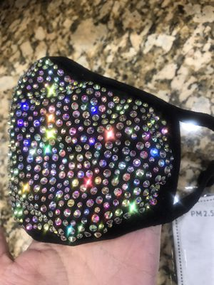 Aurora Borealis Crystal Bling Rhinestones face mask cover shield for Sale in Pigeon Forge, TN