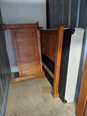 Beautiful Queen Solid Wood Bed Fame (Naturewood) & Box Spring for Sale in Rancho Cordova, CA